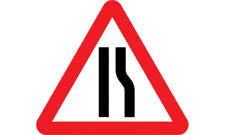 Road narrows on right ahead
