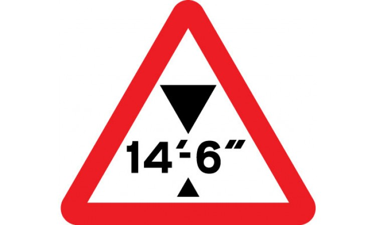 Maximum headroom of 14'-6'' at hazard ahead