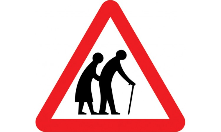 Frail or disabled pedestrians likely to cross road ahead