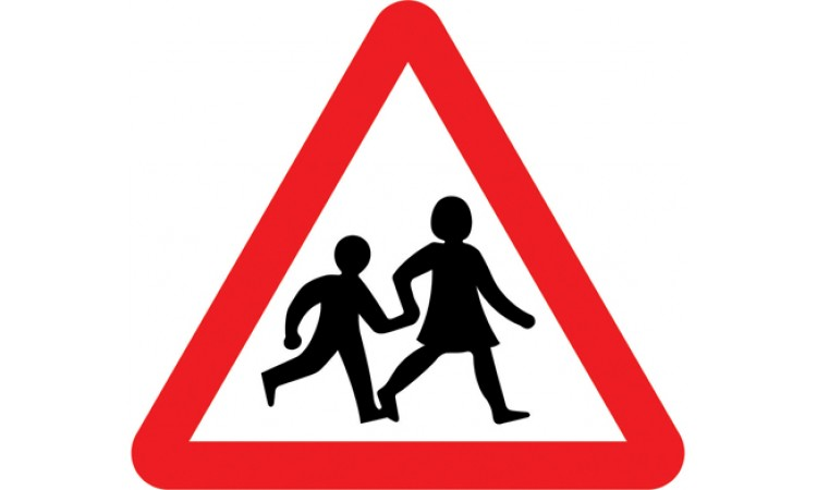 Children going to or from school or playground ahead