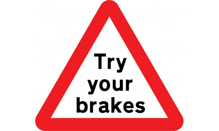 Risk of brake failure after crossing a ford or before descending a steep gradient