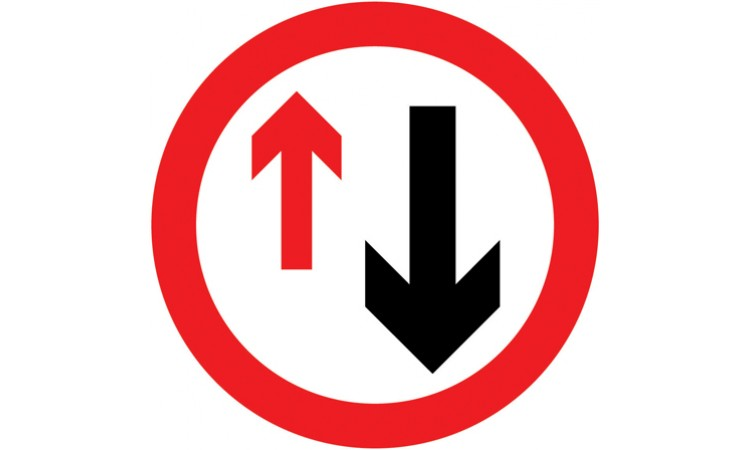 Priority must be given to vehicles from the opposite direction