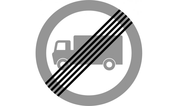 End of prohibition of goods vehicles exceeding the maximum gross weight indicated in a previous sign