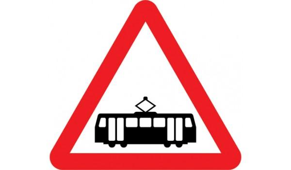 Tramcars crossing ahead